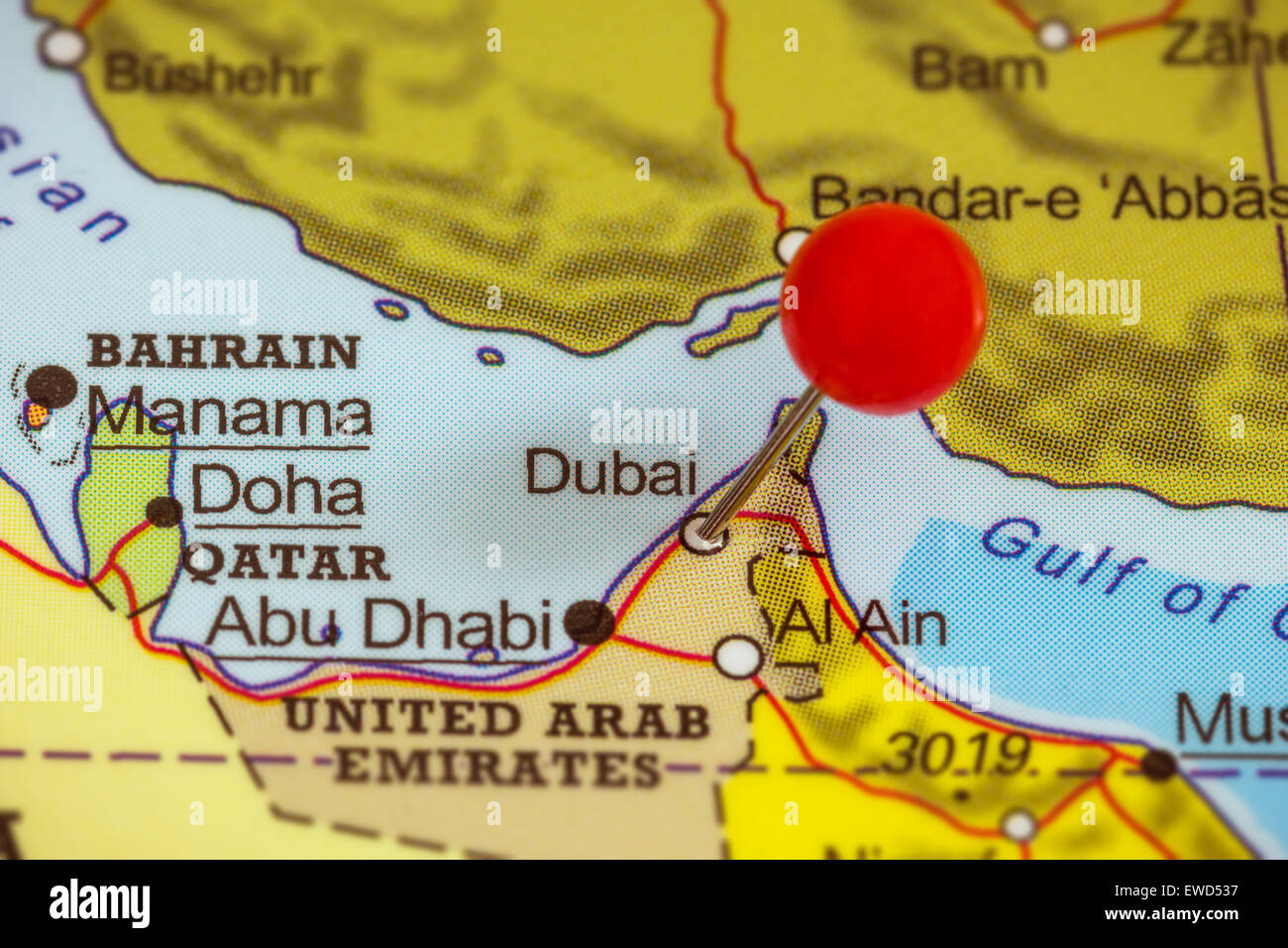 Dubai map stock photos dubai map stock images alamy close up of a red pushpin on a map of dubai united arab emirates gumiabroncs Image collections