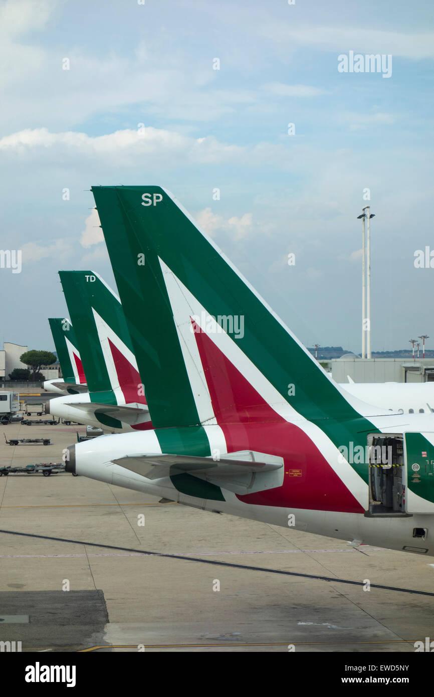 Alitalia aeroplanes at Fiumicino - Leonardo da Vinci International Airport, Rome Italy Stock Photo