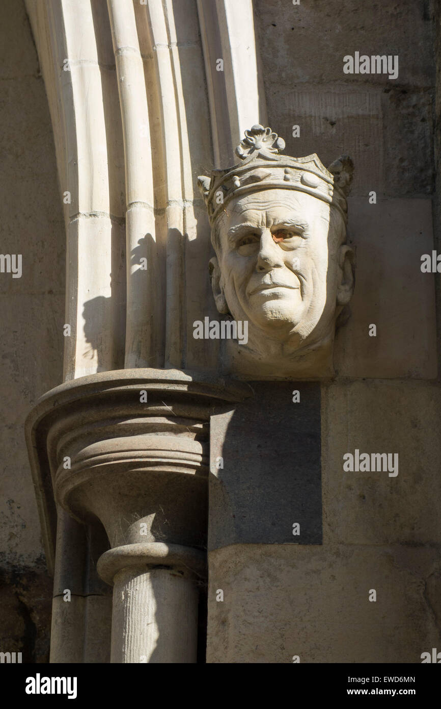 Sculpture of the Prince Philip, Duke of Edinburgh, on the portal of the Cathedral of the Holy Trinity, Chichester Stock Photo