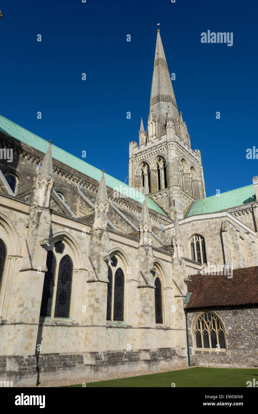 12th century Cathedral of the Holy Trinity, Chichester England. Stock Photo