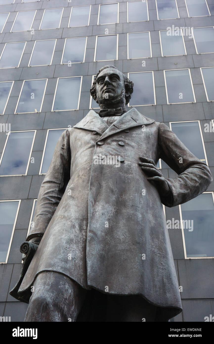 Statue of Victorian railway engineer Robert Stephenson (1803-1859) inventor of the Rocket steam locomotive outside Stock Photo