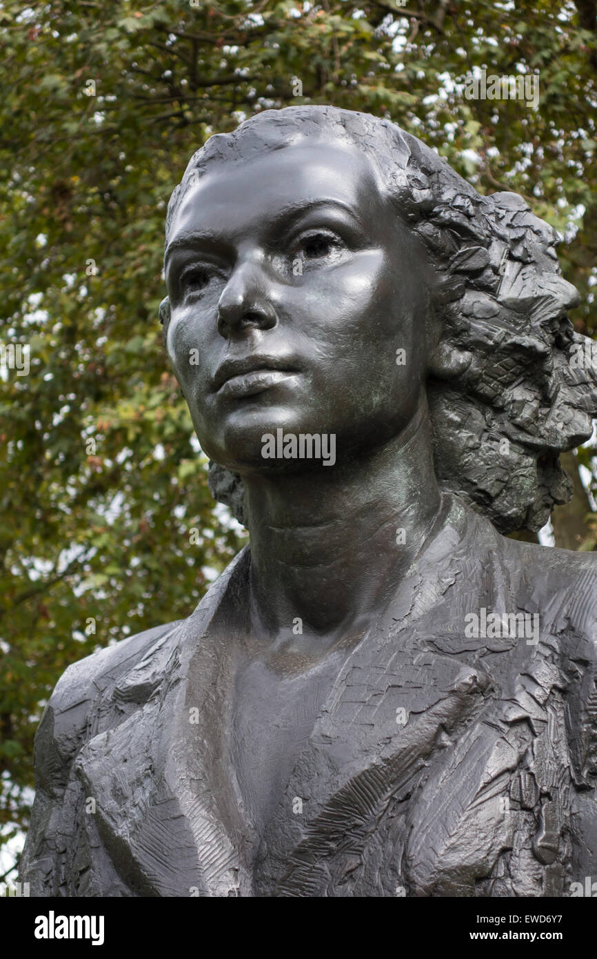 Portrait of Violette Szabo, Special Operations Executive Memorial, Albert Embankment, London, England. Stock Photo