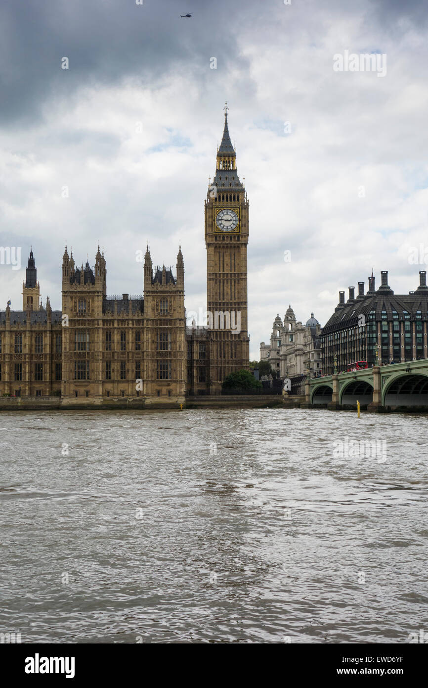 Big Ben, Houses of Parliament and the River Thames on a grey cloudy day London England Stock Photo