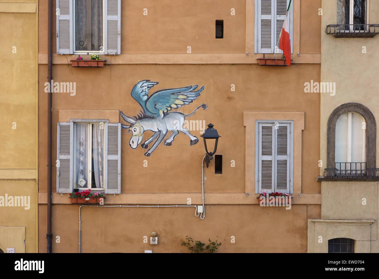 Flying Donkey street art Rome Italy Stock Photo