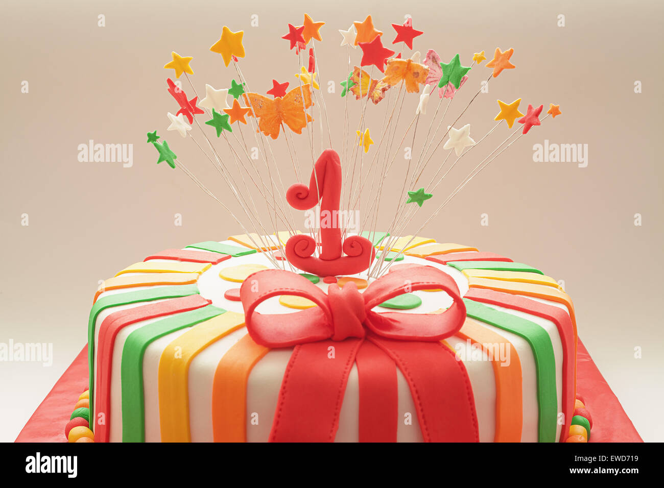 Fine Details Of Decoration Of First Year Birthday Cake Focus On Number Funny Birthday Cards Online Alyptdamsfinfo