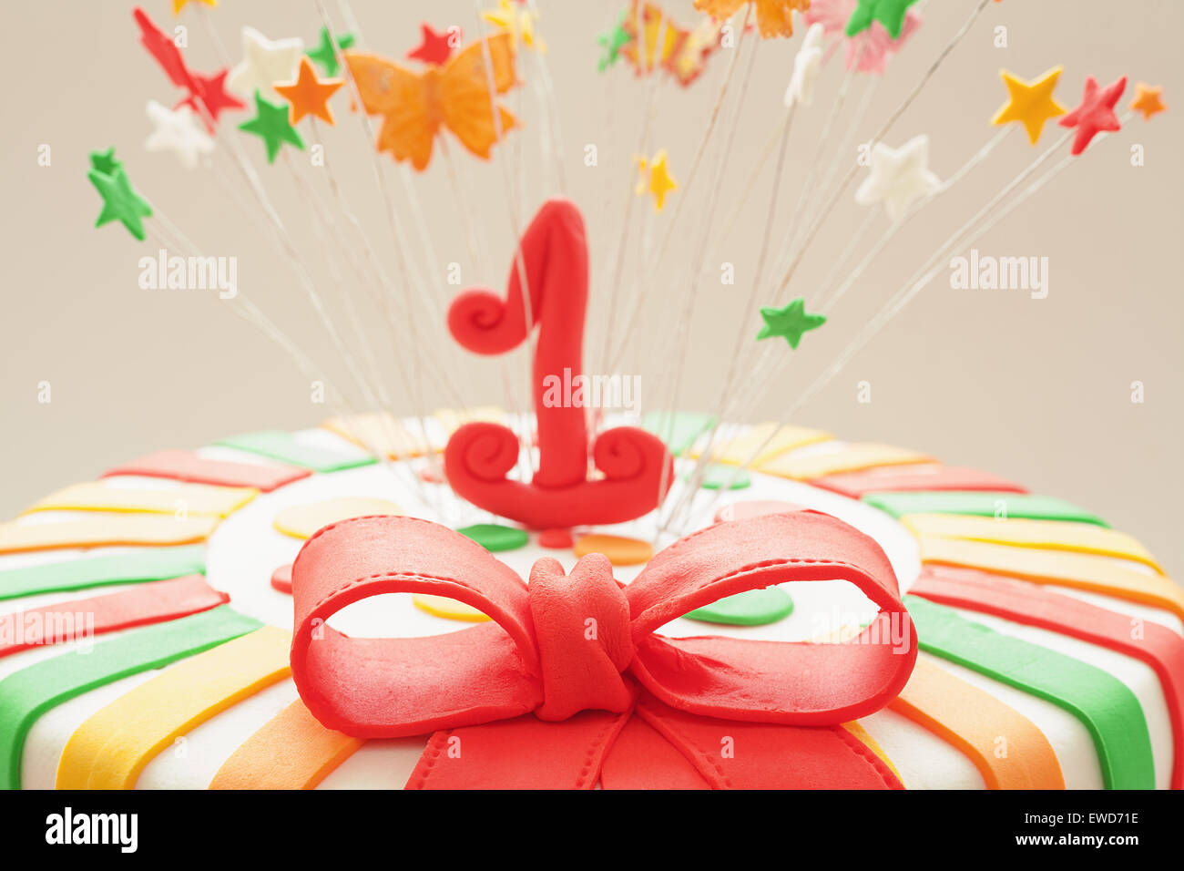 Fabulous Sugar Red Ribbon On First Year Birthday Cake Details Of Funny Birthday Cards Online Inifofree Goldxyz