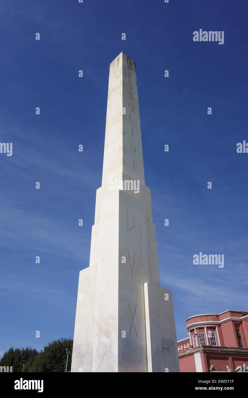 Obelisk with the inscription Mussolini Dux, Stadio dei Marmi sports stadium built in the 1920's Foro Italico, Rome Stock Photo