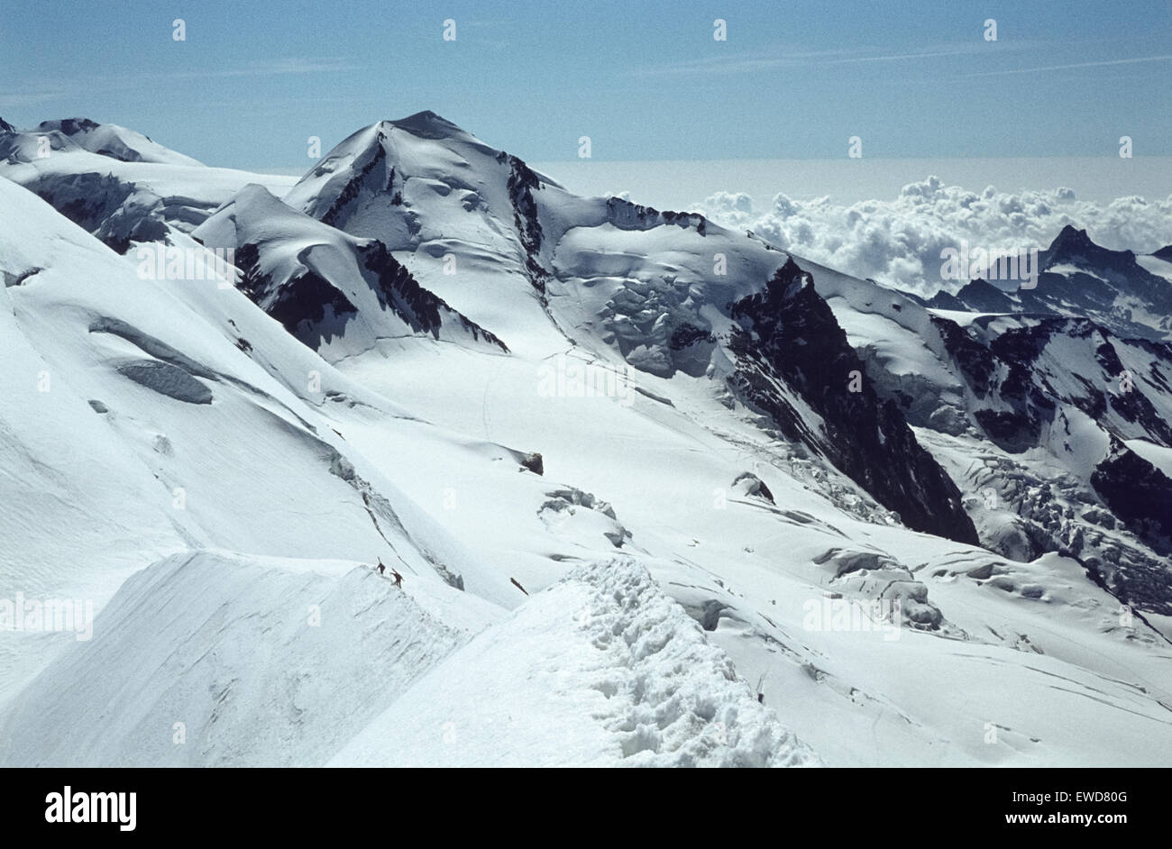 Panorama view from the top of Breithorn in 1980 Auf dem Breithorngipfel - Stock Image