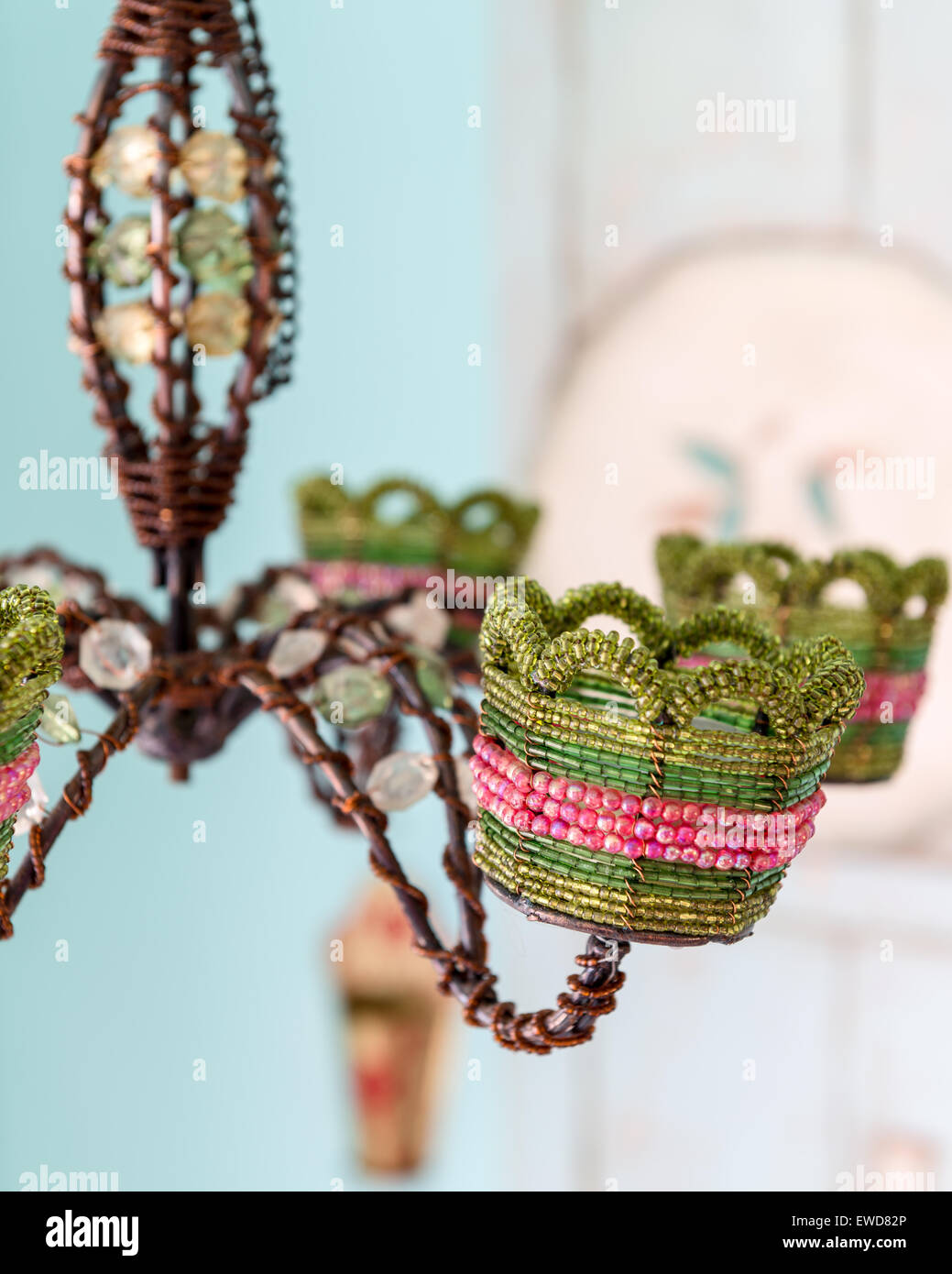 Detail of beaded chandelier - Stock Image