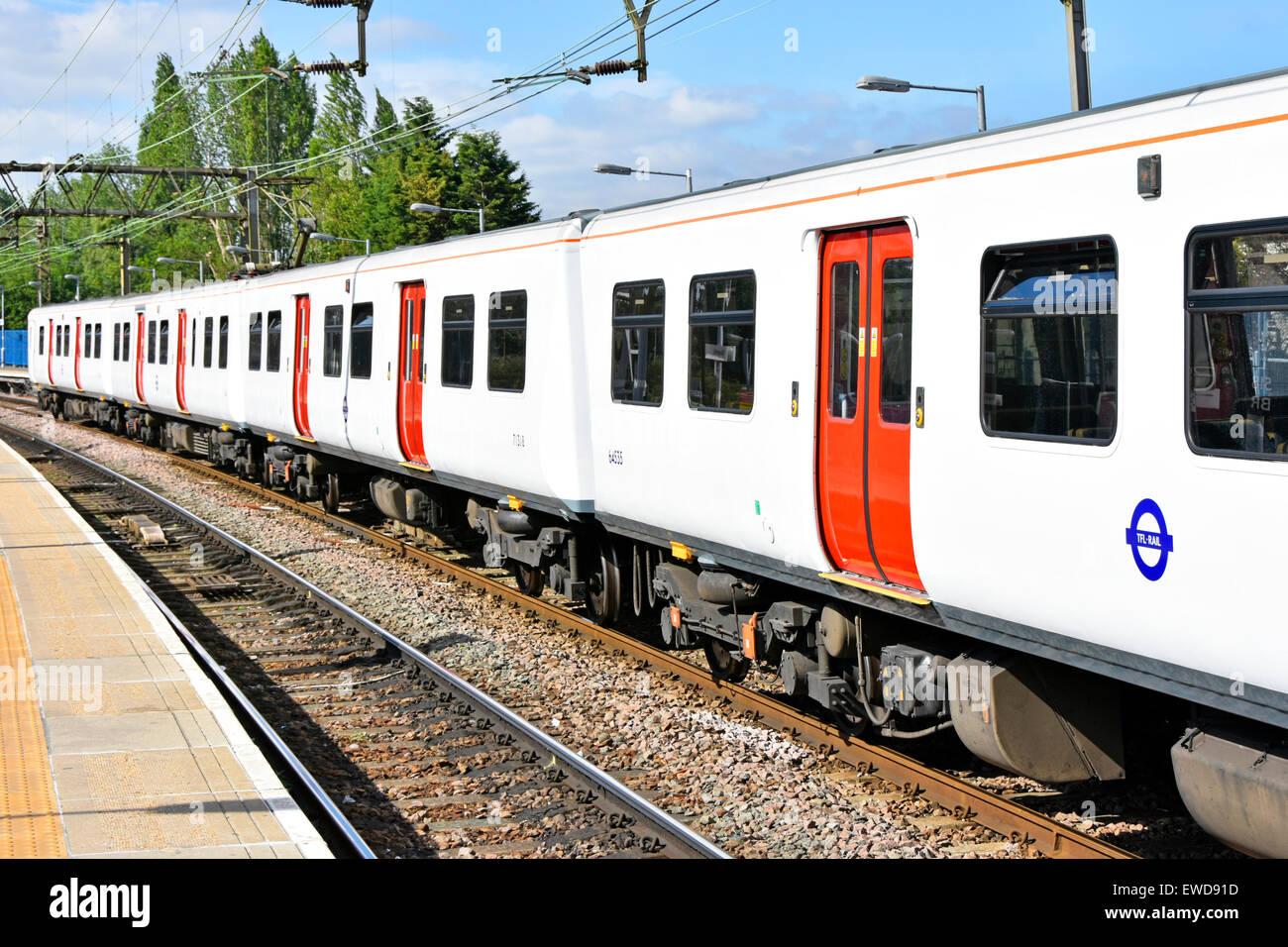 Transport for London new TFL Rail logo on Liverpool Street Metro train at Shenfield train station Essex England - Stock Image