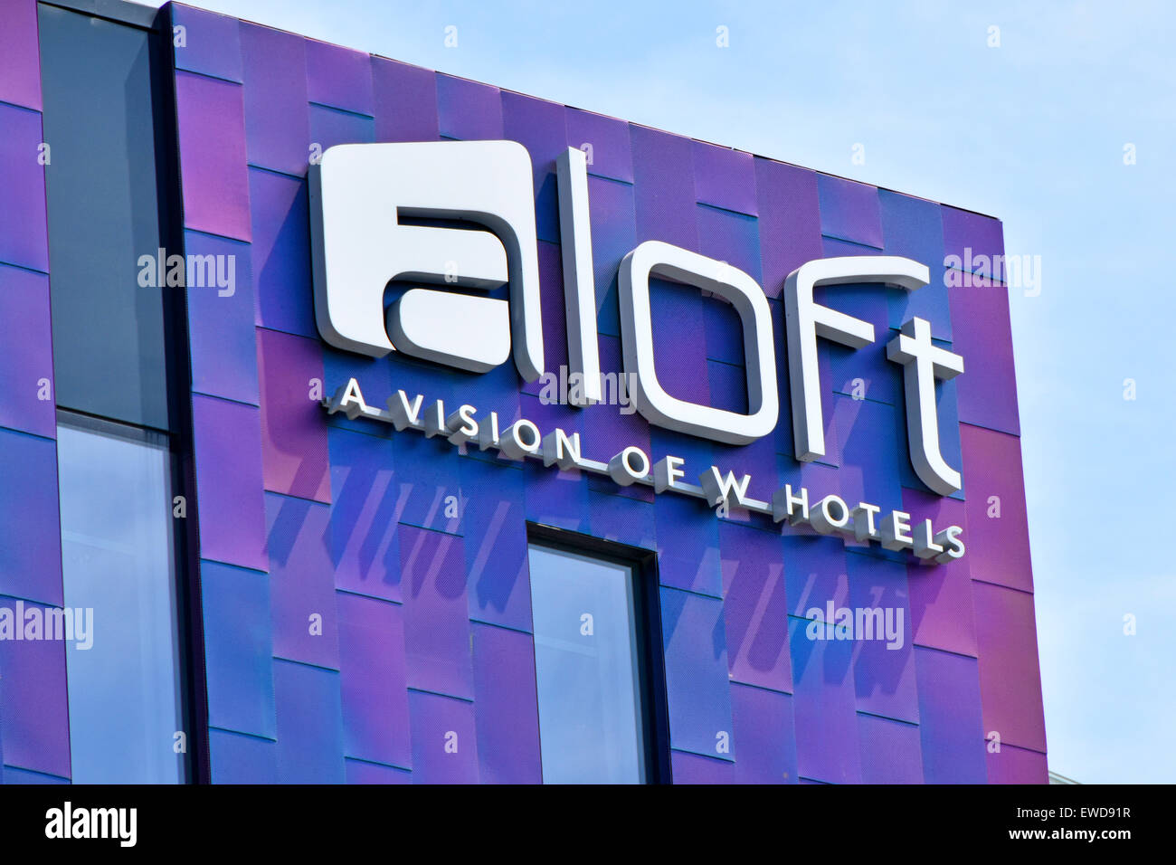 Sign for aloft W hotel located adjacent to London Excel exhibition complex &The International Convention Centre - Stock Image