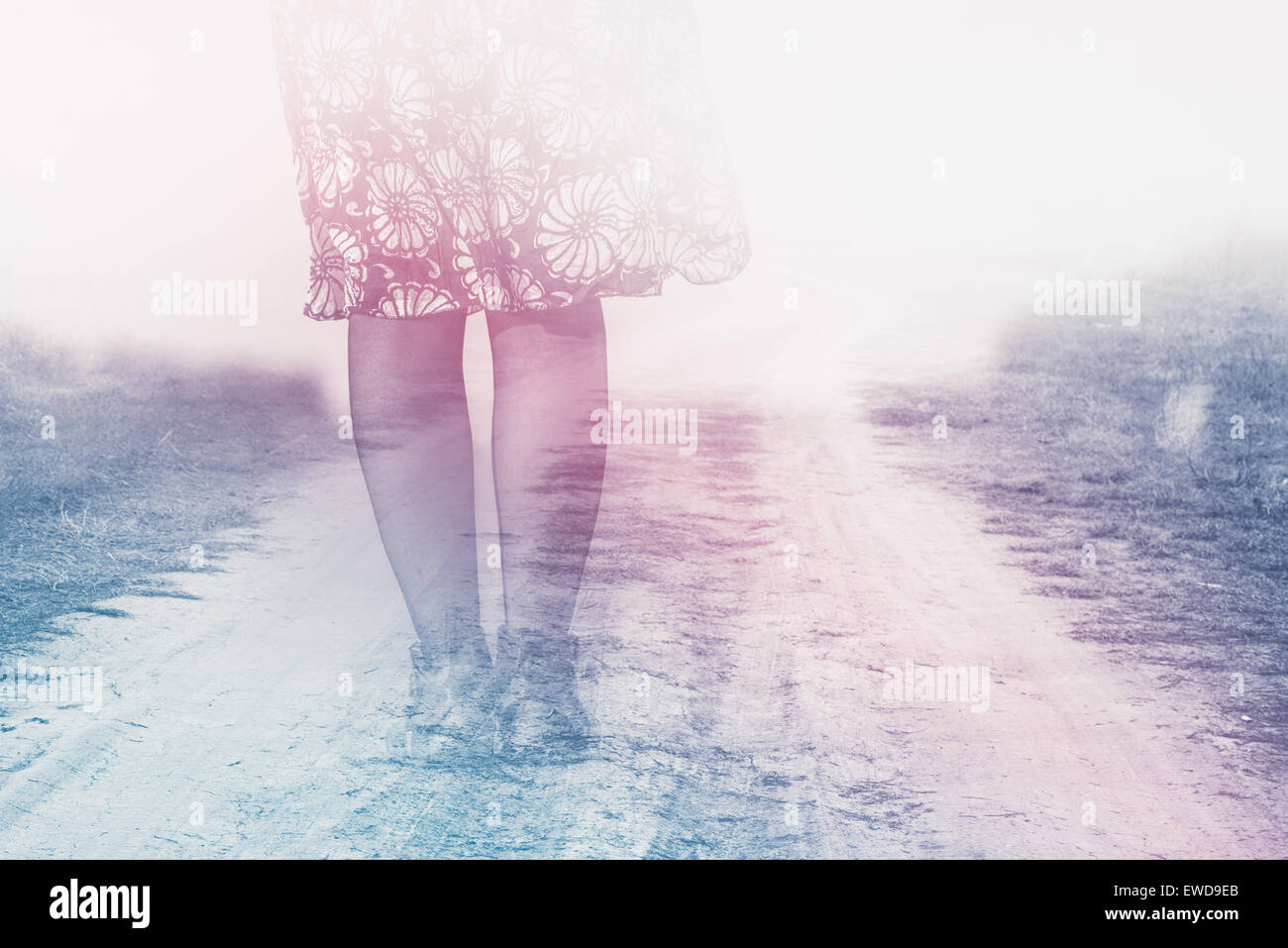 Female Legs on Country Road to Nowhere, Anxiety Concept, Double Exposure, Vintage Retro Tone Effect - Stock Image