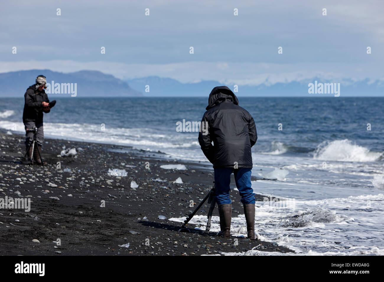 photographers taking photos of icebergs washing up on the black sand beach at Jokulsarlon Iceland - Stock Image