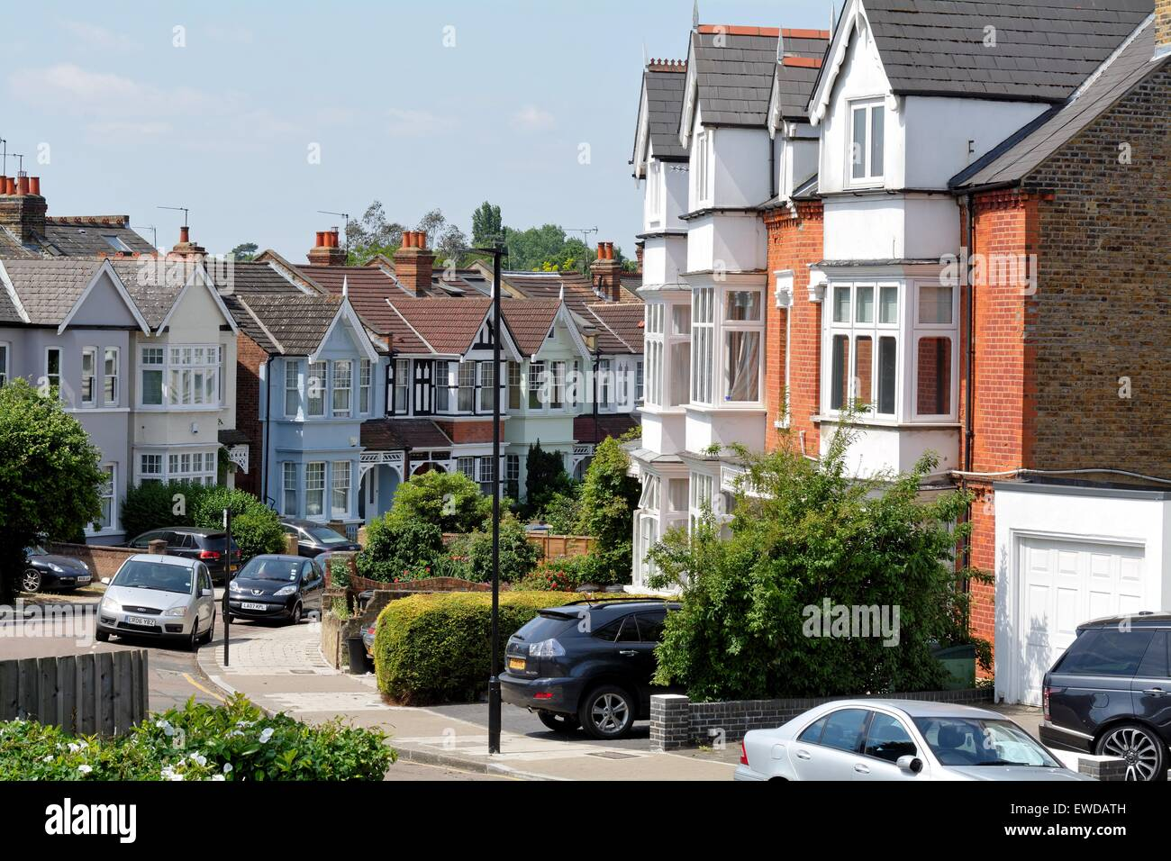 Terraced houses in Oxford road south Chiswick West London England UK - Stock Image