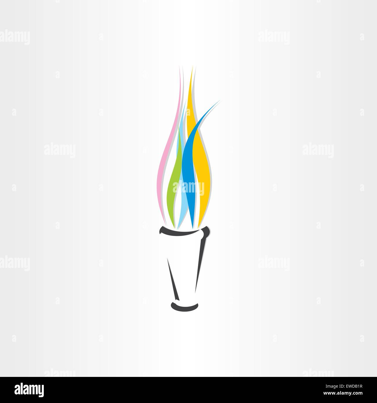 olympic fire torch colorful flame icon design - Stock Vector
