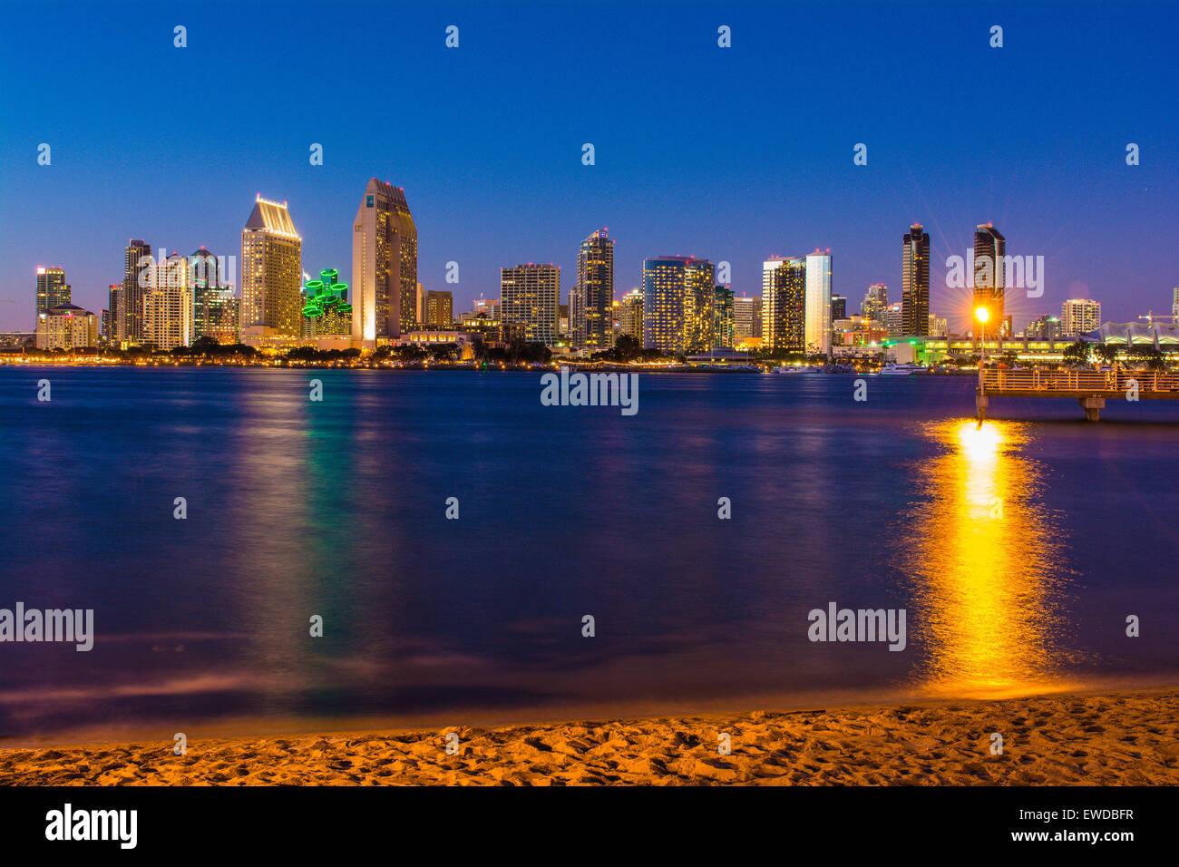 Downtown San Diego skyline from Coronado Island, California, USA - Stock Image