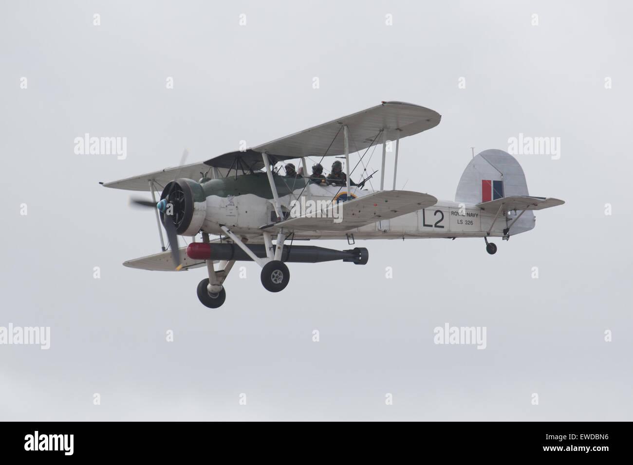 The Royal Navy Historic Flights Fairey Swordfish II LS 326 Bi-plane - Stock Image