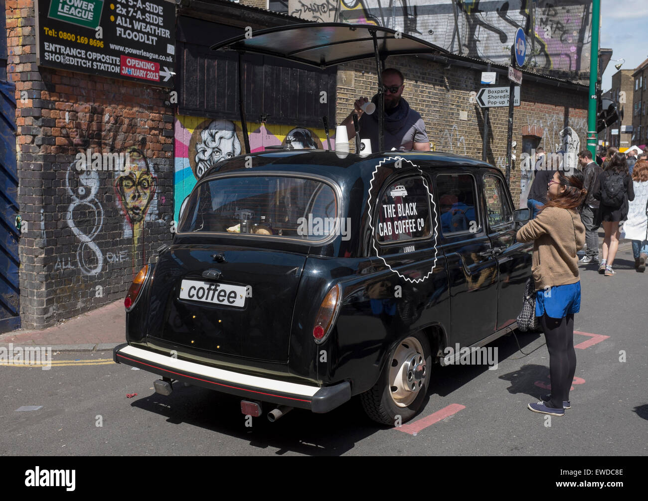 Black Cab Coffee Cafe Company selling drinks at Brick Lane