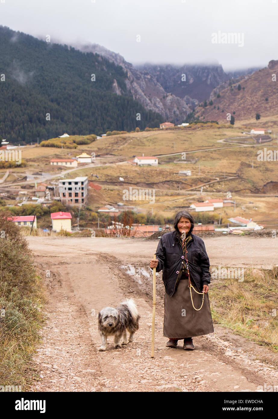 Tibet people who believe in Buddha - Stock Image