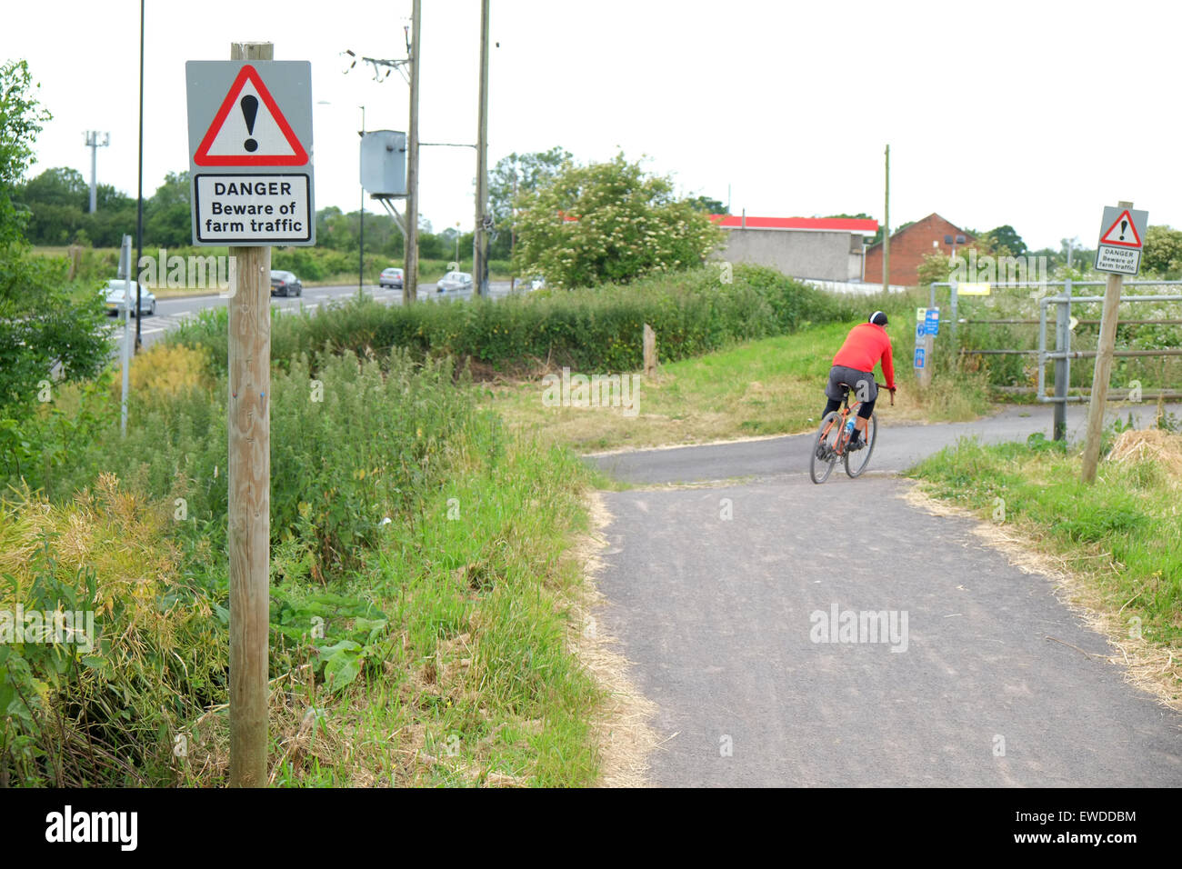 Segregated cycle track in Conglesbury adjacent to the A370, June 2015 - Stock Image