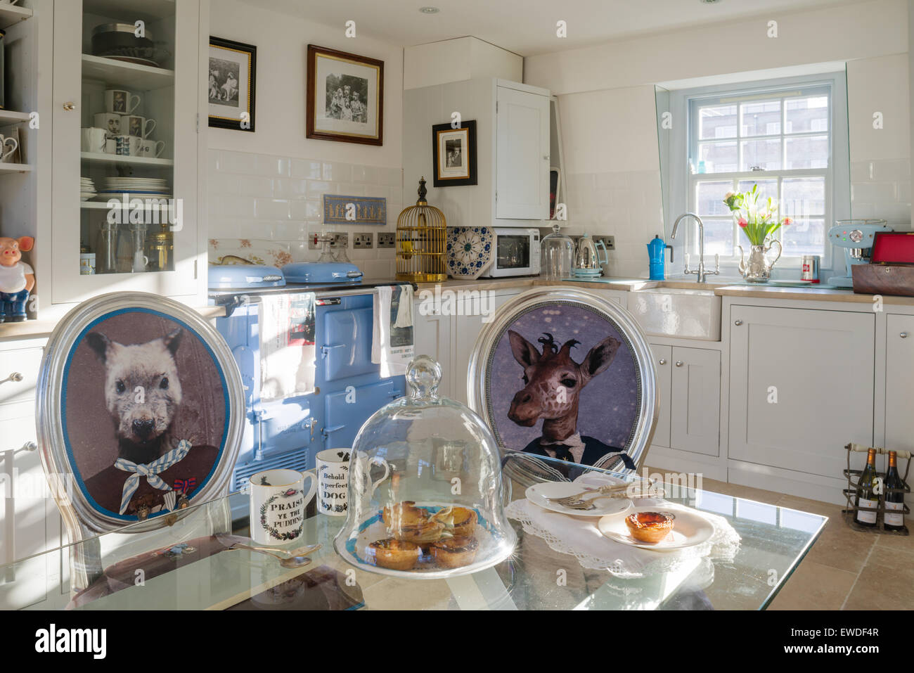 Dining chairs upholstered in Cory's Visitorian prints around glass topped dining table in kitchen with white - Stock Image
