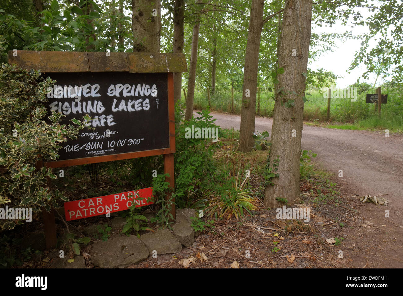 silver springs fishing lakes cafe just off the strawberry line cycle track in conglesbury north somerset england june 2015