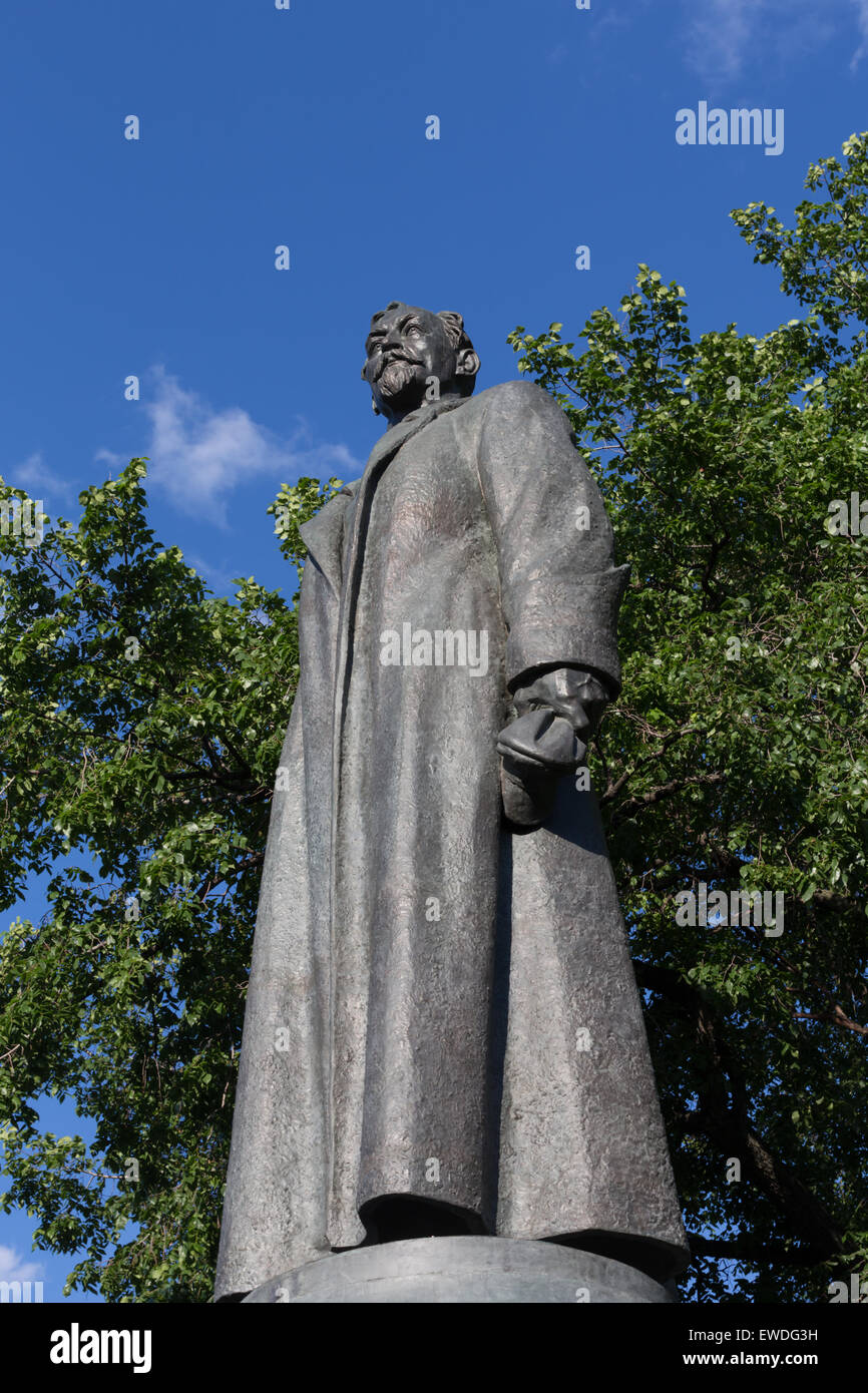 Statue of Felix Dzerzhinsky (founder of the Cheka--forerunner of the Soviet KGB) located in Fallen Monument Park, - Stock Image