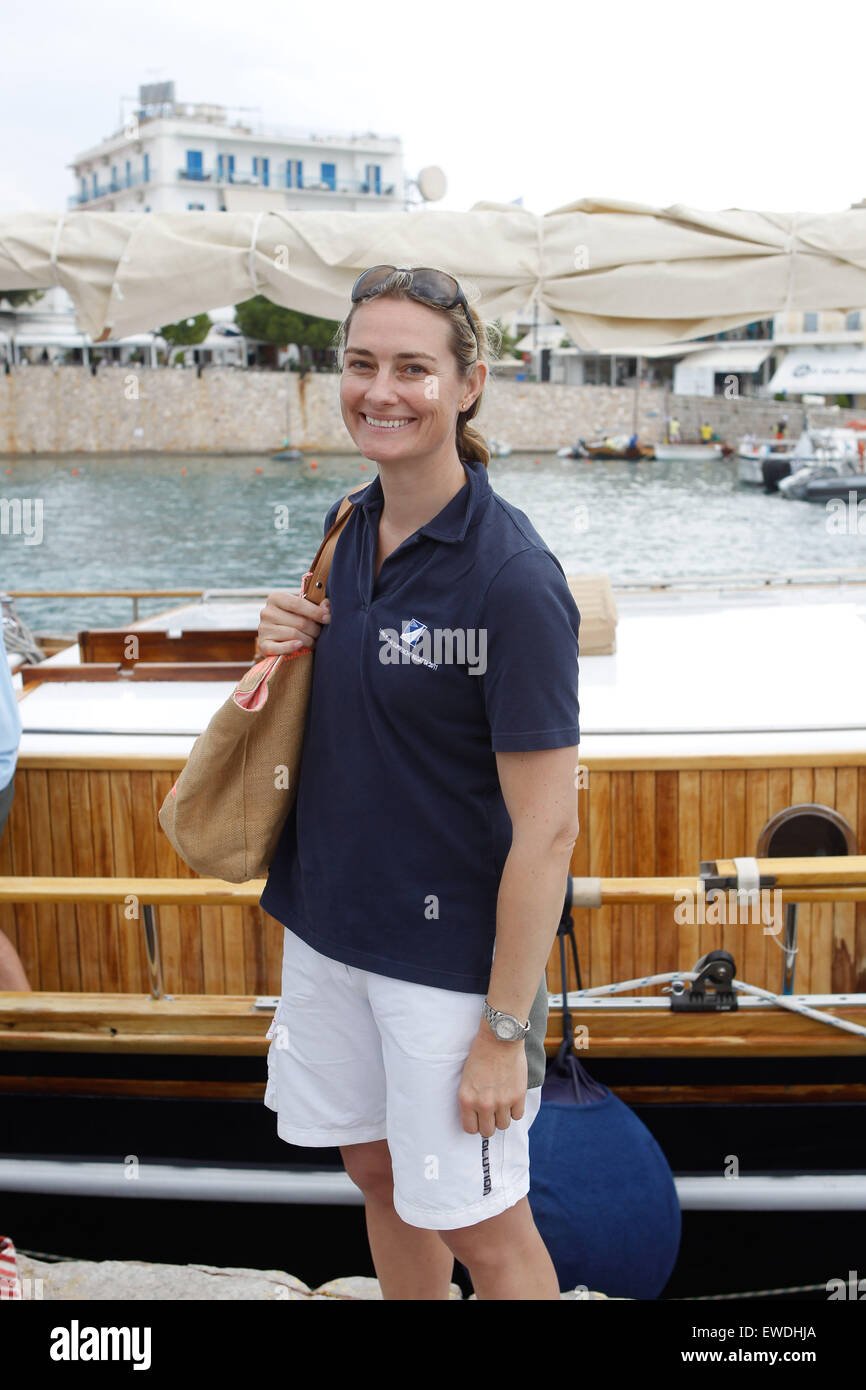Sarah Webb Gosling as member of King Constantine crew. on his traditional boat 'Afroessa  during the  'Spetses - Stock Image