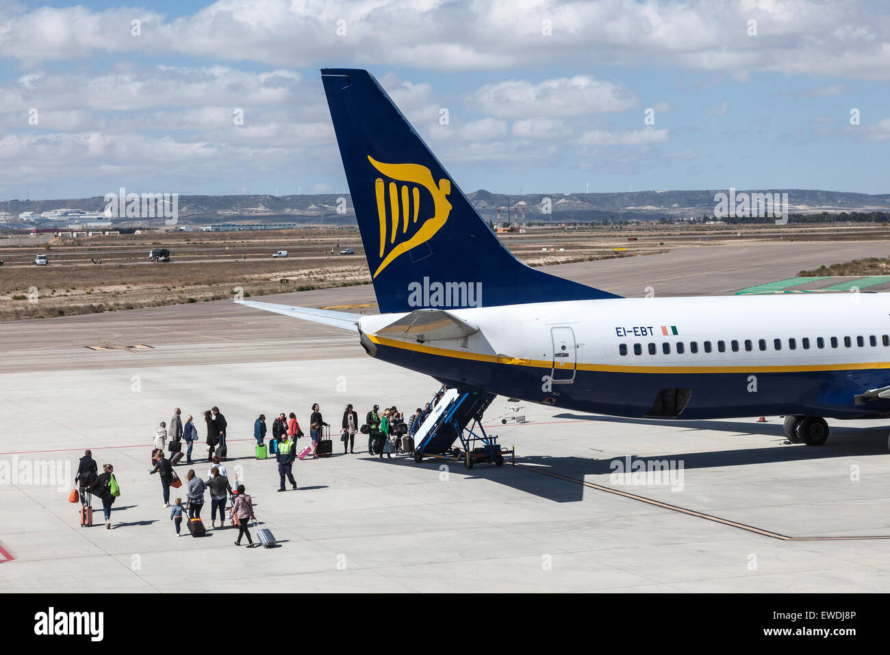 Ryanair airplane boarding at the runway of the International Airport of Zaragoza, Province of Aragon, Spain - Stock Image