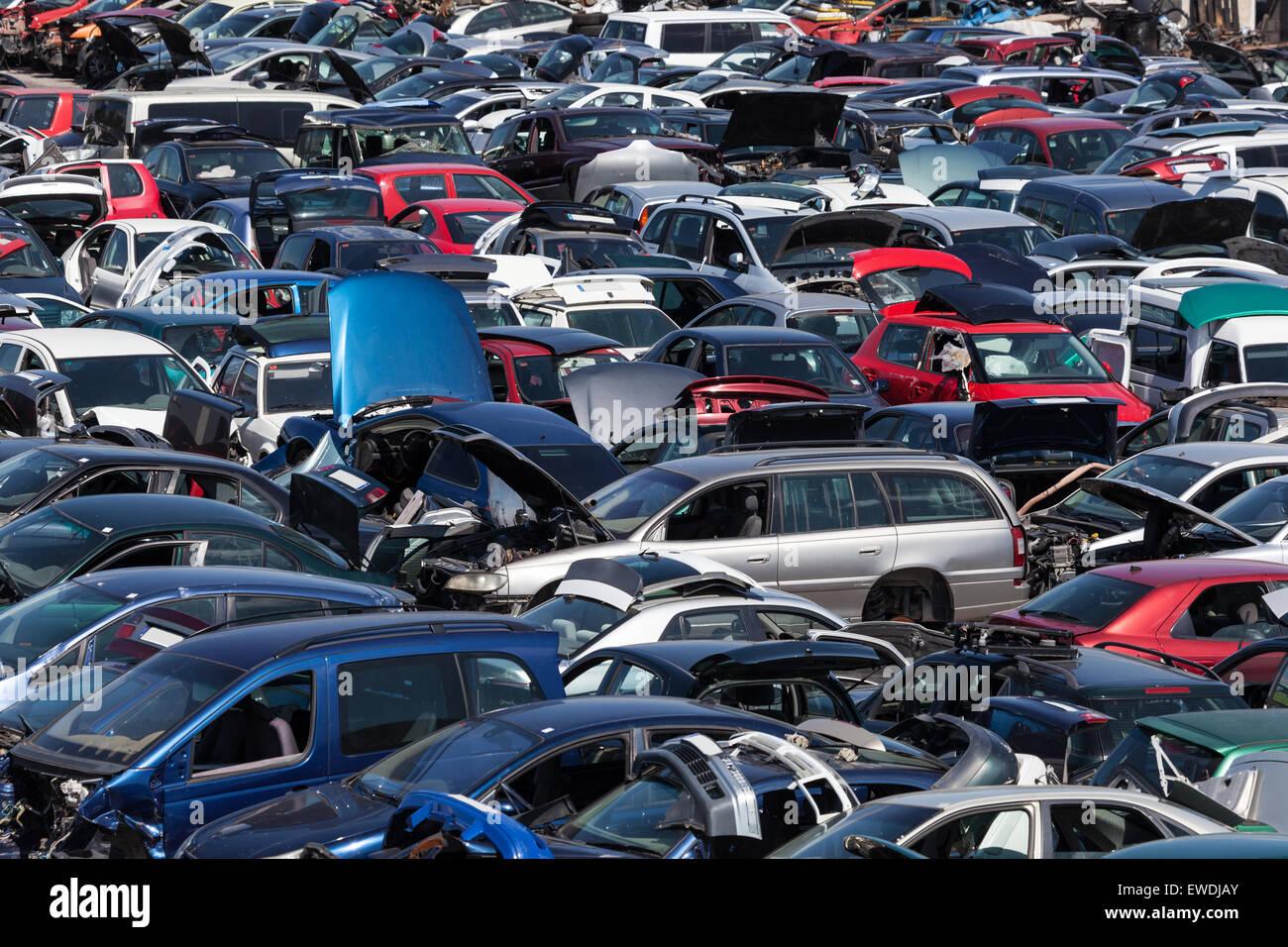 Hundreds of old cars at a scrap yard - Stock Image