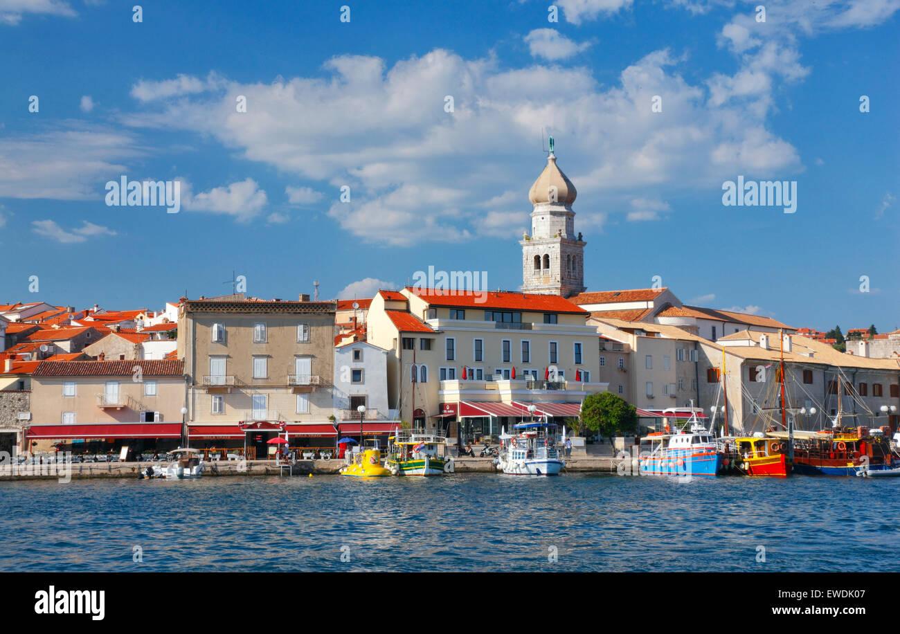 Krk old town in Croatia. Main town of island of Krk. - Stock Image