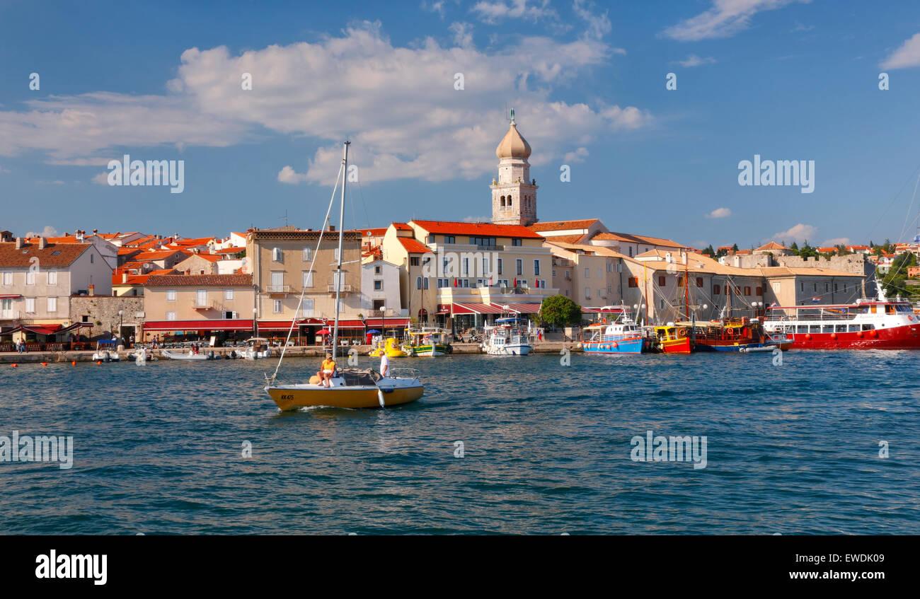Krk old town waterfront. Island Krk in Croatia - Stock Image