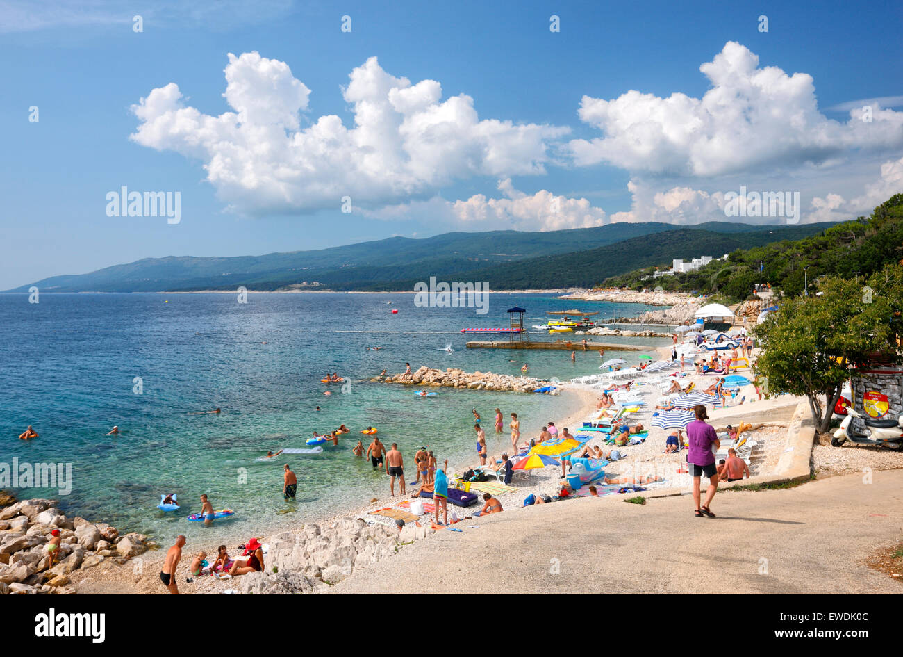 Beach in Rabac town in Istria. - Stock Image
