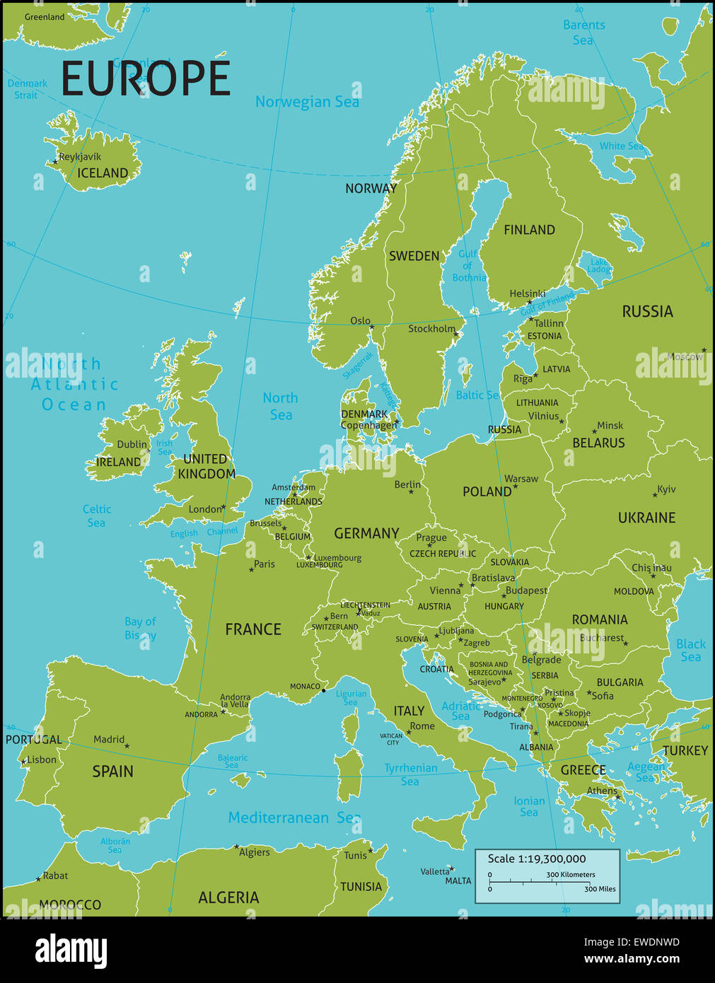 A map of Europe with all country names, and country capital cities ...