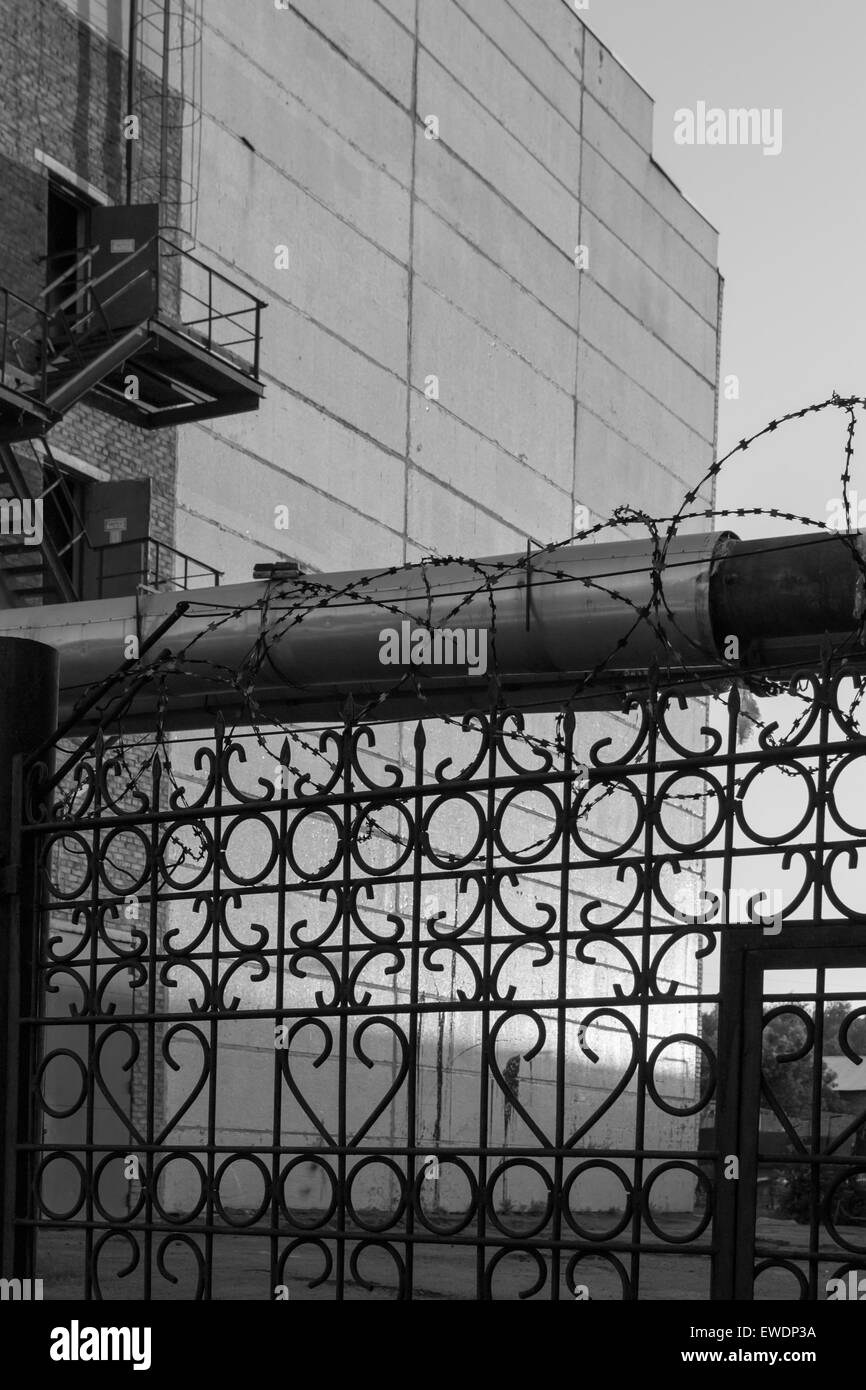 Barb Wire Black and White Stock Photos & Images - Alamy