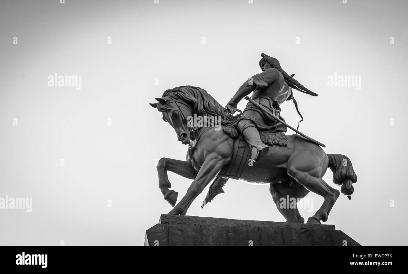 Famous brnze horseman statue of folk hero Salavat Yulaev in Ufa Bashkortostan in Russia - Stock Image