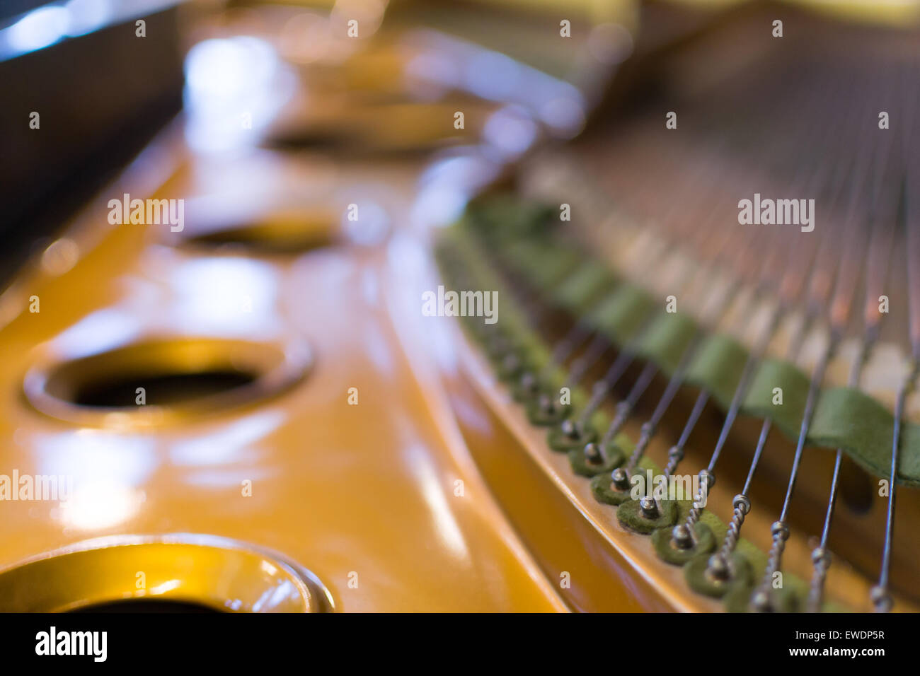 Detailed image of the strings of a classical Grand Piano in close-up - Stock Image