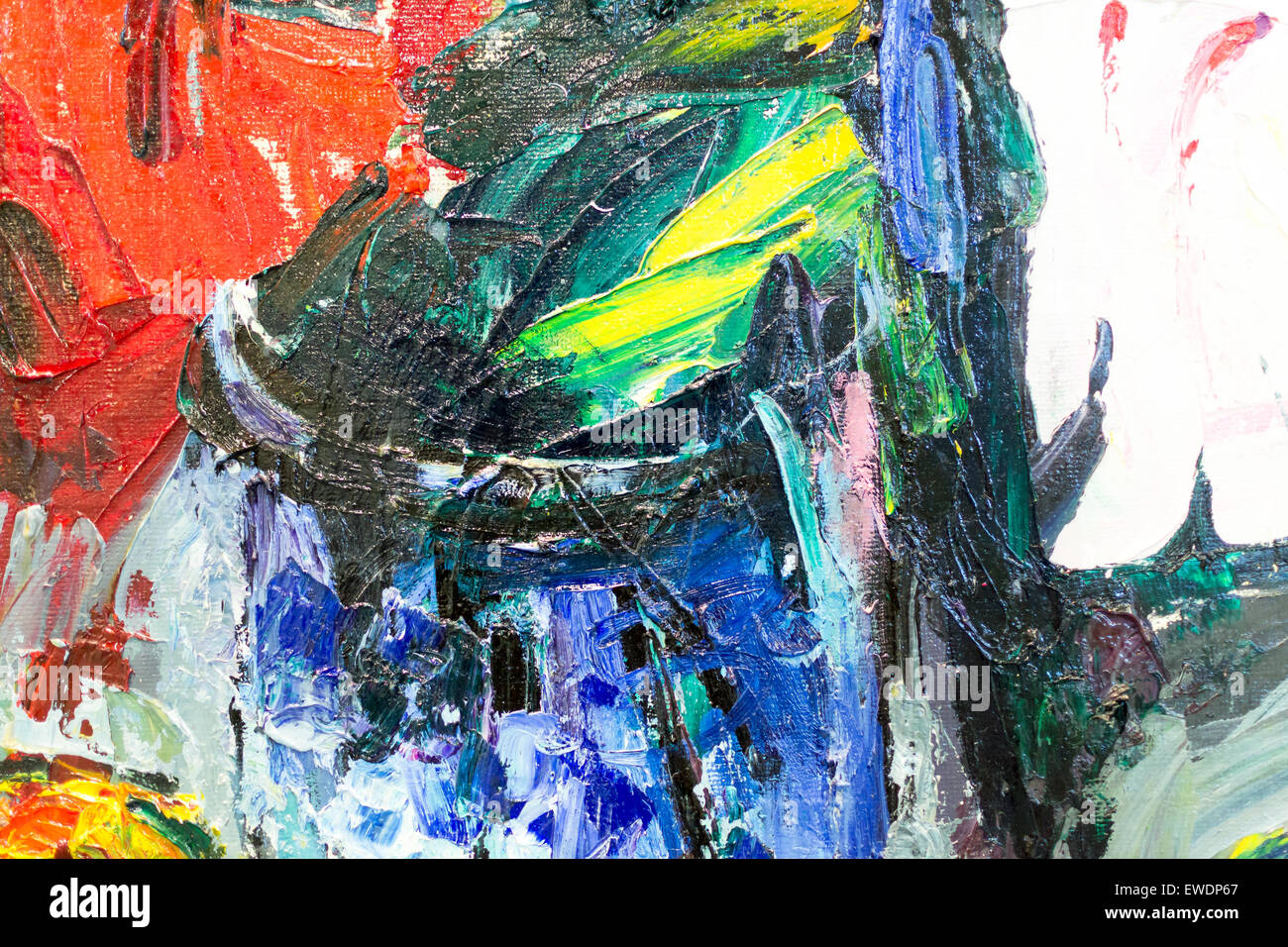 Bright Abstract Closeup Of Oil Brush Textures On Canvas