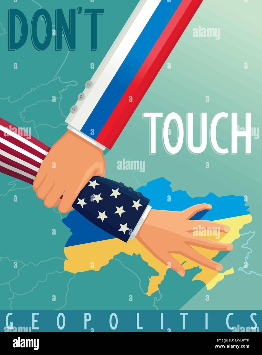 The crisis in Ukraine. Russia stops U.S. scenario. Geopolitical war. Vector eps 8 - Stock Vector