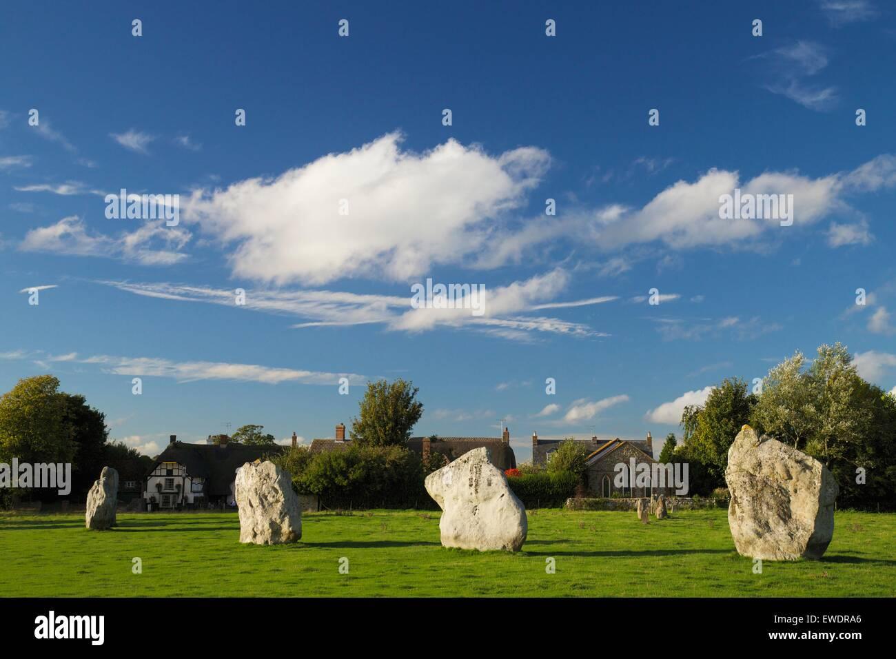 Megalithic stone circle, Avebury, Wiltshire, England. UK, GB - Stock Image