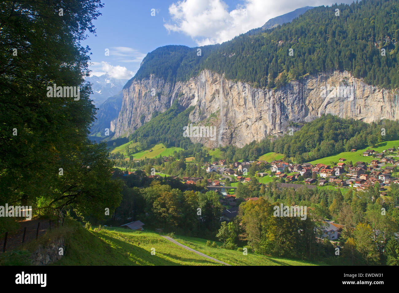 Lauterbrunnen and Staubbach Falls Stock Photo