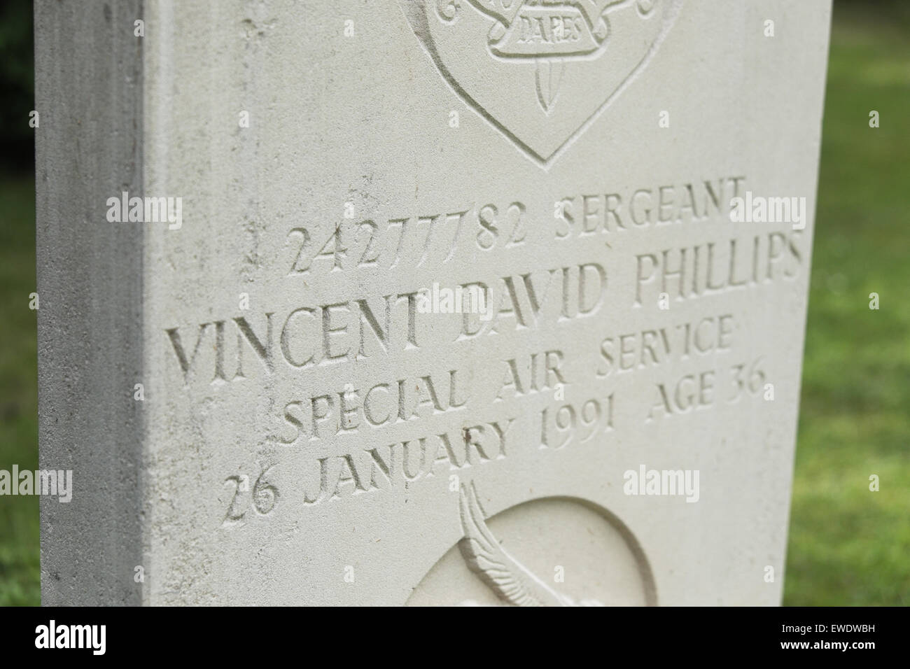 Grave headstone of SAS Regiment soldier Vincent David Phillips in Hereford - Vince Phillips died in January 1991 - Stock Image