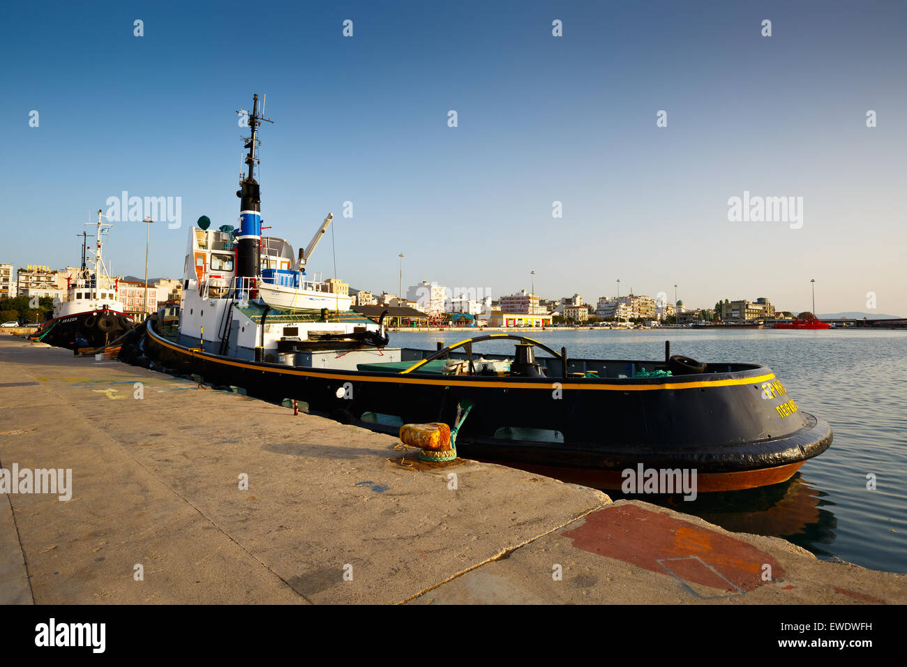 Tugs in the port of Patras, Peloponnese, Greece - Stock Image