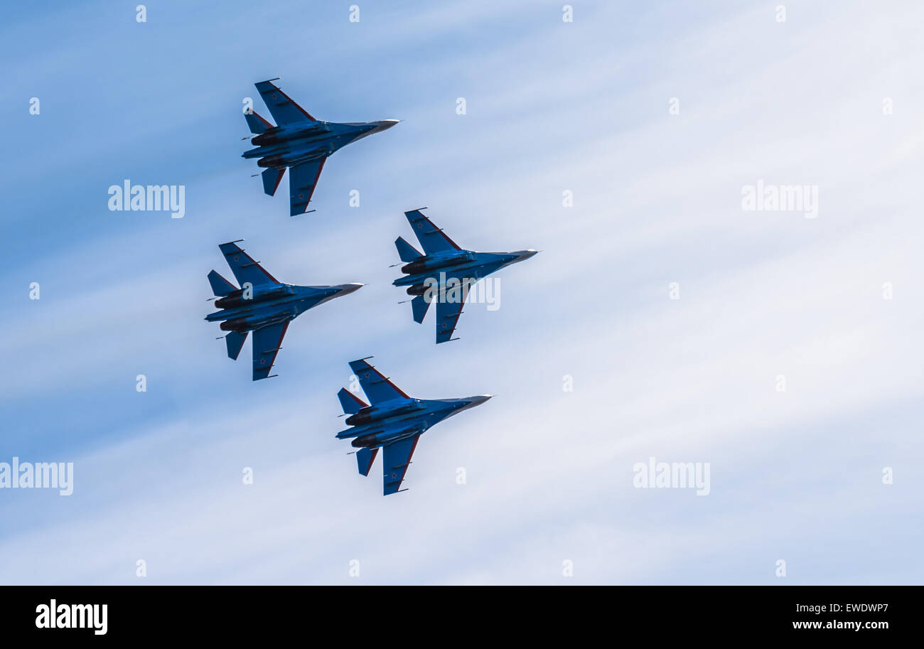 Silhouettes of russian fighter aircrafts in the sky - Stock Image