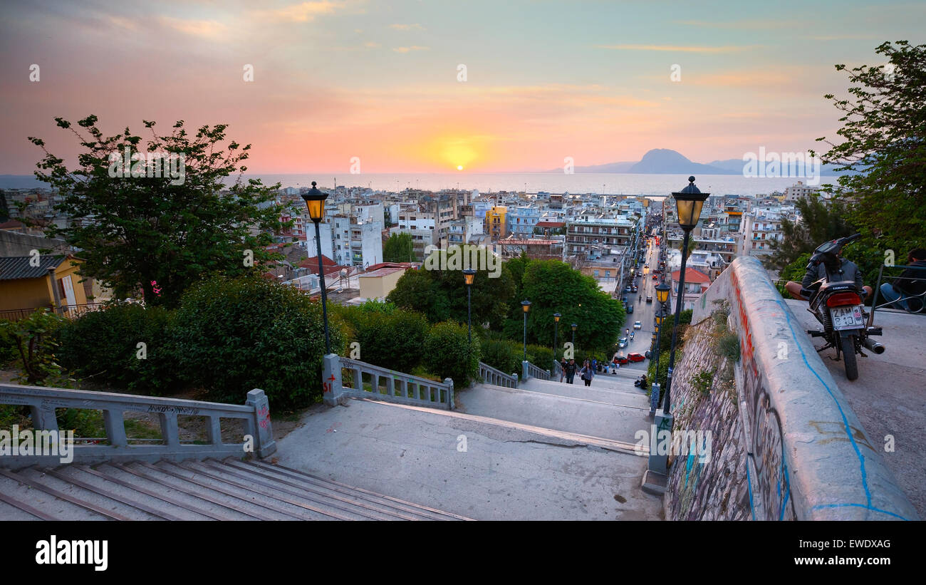 View of the city of Patras from the staircase leading from city centre to the top of the castle hill - Stock Image