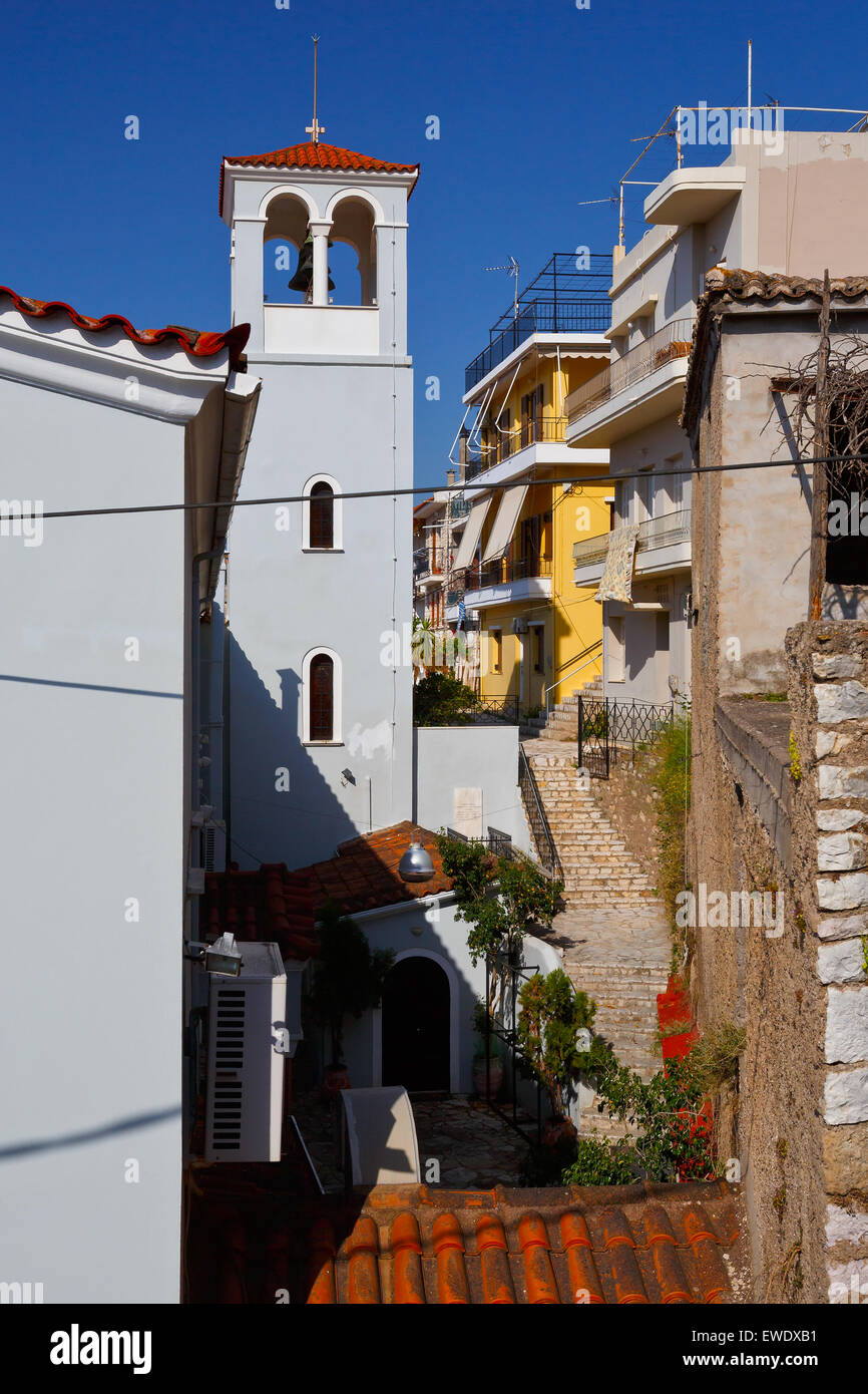 Church in Nafpaktos village on Greek mainland, Greece. - Stock Image
