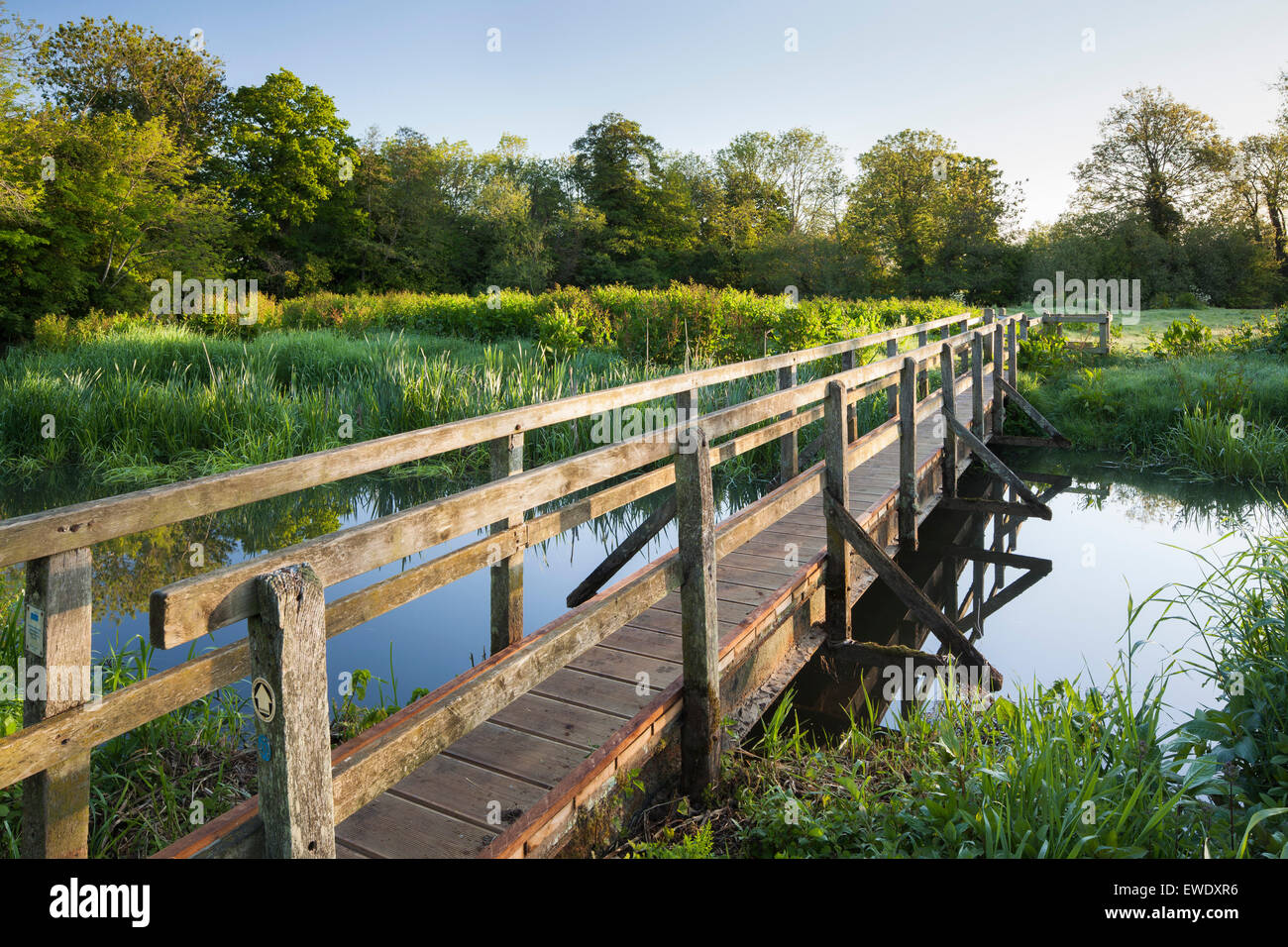 A bridge over the River Ouse at Barcombe Mills near Lewes, East Sussex, England, UK - Stock Image