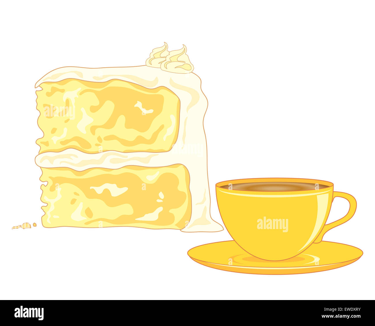 an illustration of a butter sponge cake  and a cup of tea on a white background - Stock Image