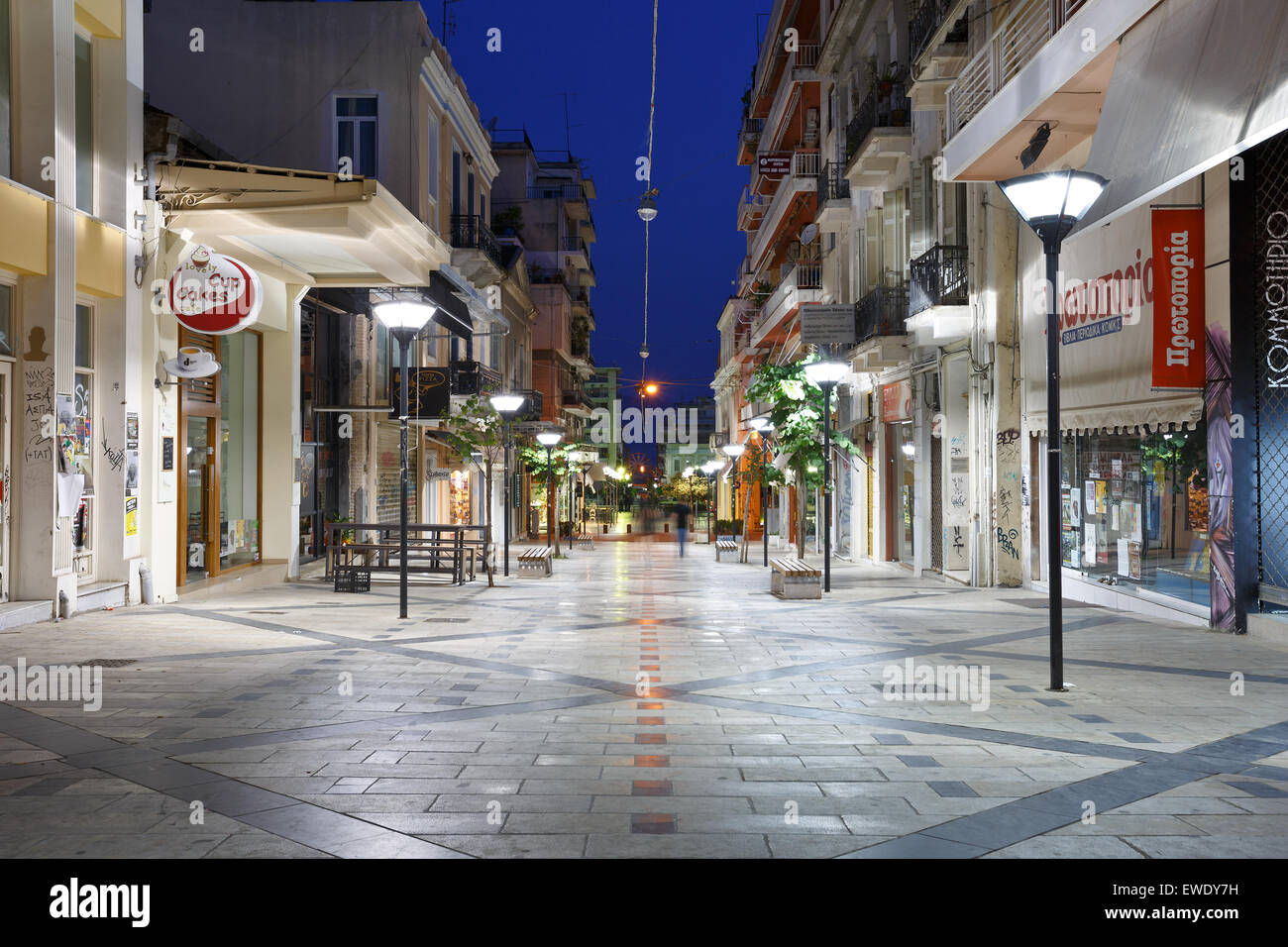 One of the streets in the city centre of Patras, Greece - Stock Image