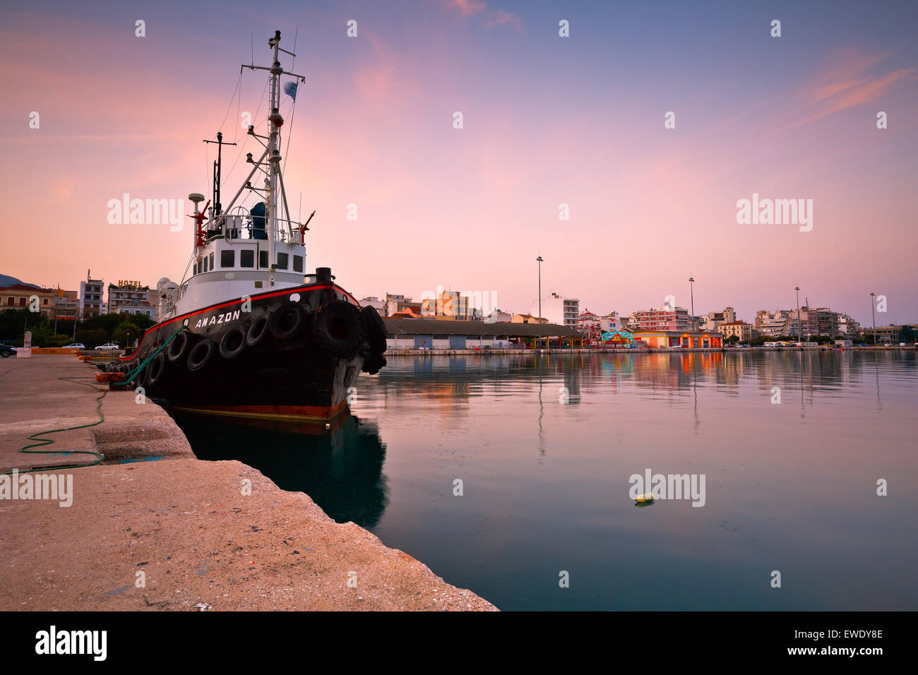 Tug docked in the port of Patras, Peloponnese, Greece - Stock Image